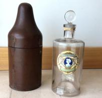 Old Glass Bottle W/leather Case: EAU De BEAUTE CLARIDGE's HOTEL Champs Elysees PARIS. Ancien Flacon Verre + Cuir FRANCE - Beauty Products