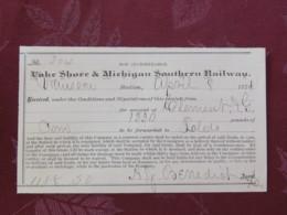 USA 1871 Receipt Of Lake Shore & Michigan Southern Railway - Etats-Unis