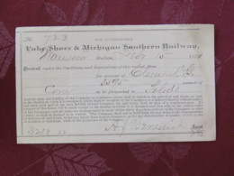USA 1871 Receipt Of Lake Shore & Michigan Southern Railway - United States