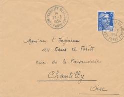 """CàD """" COMPTABILITÉ RÉGIONALE PARIS 23/3/54 """" PEU COMMUN Obl GANDON 15f Sur Lettre > Chantilly Oise - Marcofilia (sobres)"""
