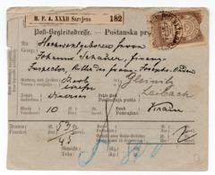 1892 BOSNIA, AUSTRIA-HUNGARY, SARAJEVO TO LJUBLJANA, SLOVENIA, REVENUE STAMP USED AS POSTAL - Bosnia And Herzegovina