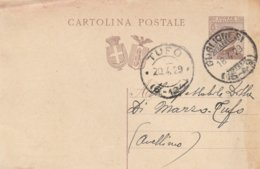 Guglionesi. 1929. Annullo Frazionario (15 - 49), Su Cartolina Postale Con Testo - 1900-44 Victor Emmanuel III