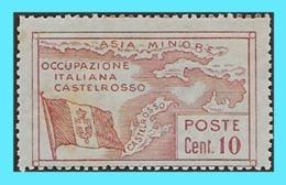 CASTELLORIZO- GREECE- GRECE - HELLAS- ITALY 1923: 10c Red Italian Post Office - From Set MNH** - Dodécanèse