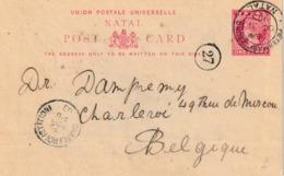 """NATAL Entier H&G Nr. 7a """"PIETERMARITZBURG  OC 31 1903 /NATAL""""  Verso 3 Afbeeldingen """"NAVAL GUN"""" """"NATIVE KRAAL"""" Tpt Wagon - Briefmarken"""
