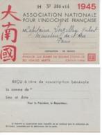 """Carte Membre """"Association Nationale Pour L'Indochine Française"""" 1945 - Mappe"""
