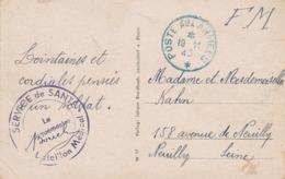 """Cachet """" SERVICE DE SANTÉ Bataillon Médical """" + En BLEU """" POSTE AUX ARMÉES 19/11/45 - CP Allemagne LEUTERDORF Occupation - Marcofilia (sobres)"""