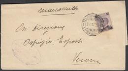 Storia Postale 24/11/1923 Manoscritto Da Verona Per Distretto Affr. Con Cent 50 Su 55 In Tariffa Sass 140 - 1900-44 Victor Emmanuel III