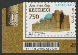 """KAZAKHSTAN .-EUROPA 2017- """"CASTILLOS - CASTLES - SCHLÖSSER"""".- SERIE De 2 V. Con CÓDIGO BARRAS - 2017"""