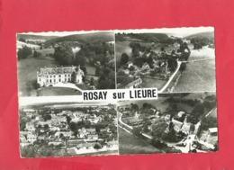 CPSM Petit Format - En Avion Au Dessus De...  Rosay Sur Lieure -(Eure) - Le Château-Vue Générale De La Vallée- L'église - Otros Municipios