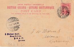 """BRITISH GUIANE : ENTIER Nr. 5 """"GEORGETOWN  MY 1893"""" Via LONDON Naar ALTONA 18.5.93 - Autres - Amérique"""