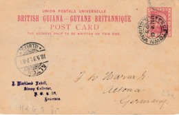 "BRITISH GUIANE : ENTIER Nr. 5 ""GEORGETOWN  MY 1893"" Via LONDON Naar ALTONA 18.5.93 - Postzegels"