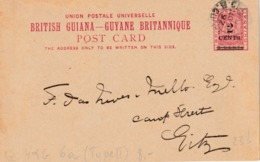 """BRITISH GUIANA  Entier  H&G 6a (Type II) """"GEORGTOWN  NOV 1892"""" - Stamps"""