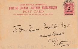 "BRITISH GUIANA  Entier  H&G 6a (Type II) ""GEORGTOWN  NOV 1892"" - Francobolli"