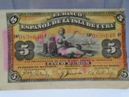 Cuba, 5 Pesos 1896, El Banco Espanol De La Isla De Cuba, PLATA, Scarce, Rare, Crisp, UNC. How You Can See. - Cuba