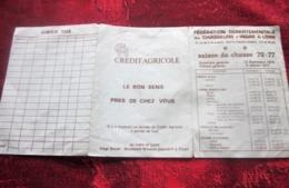 1976/77 FÉDÉRATION DÉPARTEMENTALE  DES CHASSEURS D'INDRE ET LOIRE  à TOURS 37012-GIBIER -FAISAN-BÉCASSE PUB CRÉDIT AGRIC - Organisations