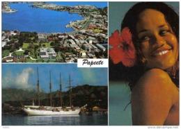 Carte Postale Tahiti Voilier Dans Le Port De Papeete Trés Beau Plan - Tahiti