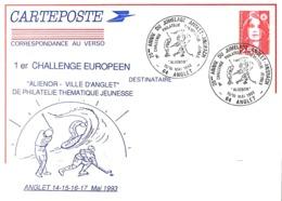 ENTIER POSTAL REPIQUE FRANCE 1993 - OBLIT. TEMPORAIRE - GOLF, SURF, HOCKEY SUR GLACE A ANGLET - - Sellos