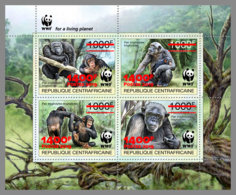 CENTRALAFRICA 2019 MNH WWF Overprint Chimpanzee Schimpanse Chimpanze RED FOIL M/S - OFFICIAL ISSUE - DH1935 - Monkeys