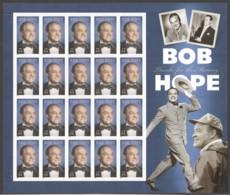2008 Bob Hope, Comedian  Complete Souvenir Sheet 20 X $0.44 Stamps - United States