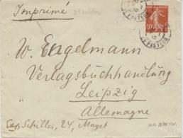 1912- Enveloppe Ouverte E P 10 C Semeuse ( IMPRIMES 2 ème échelon Pour L'Allemagne ) - Marcophilie (Lettres)
