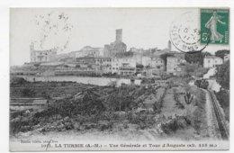 (RECTO / VERSO)LA TURBIE EN 1911 - N° 1011 - VUE GENERALE ET TOUR D' AUGUSTE - BEAU CACHET - CPA VOYAGEE - La Turbie