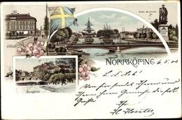 Lithographie Norrköping Schweden, Slotsgatan, Hamnen, Bergsbron, Denkmal Carl XIV Johan - Svezia