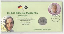 Pakistan Cover With Coin And Stamp Dr. Ruth Katherina Martha Pfau - Pakistan