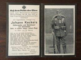 Sterbebild Wk1 Bidprentje Avis Décès Deathcard RIR13 Verschüttung 1917 Aus Gmeinbühl - 1914-18