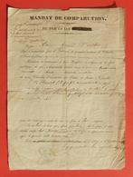 Mandat De Comparution Daté De 1851 - Communes De Charolles, Oyé Et Marcigny En Saône Et Loire - Decrees & Laws