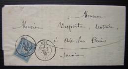 Gex 1878 (Ain) Lettre De Me Cl Bocquin Successeur De Me Viard Pour Aix Les Bains (Savoie) - Poststempel (Briefe)