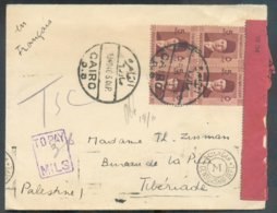 MULTIPLE EGYPTIAN PALESTINIAN CENSOR FAROUK 5 Mill. (block Of 4) Cacnelled CAIRO D.B. On Cover OCT. 1940 Censored To Tib - Egipto