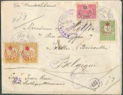 N°222-253(2)-269 Obl. Dc DETTE PUBLIQUE CONSTANTINOPLE Sur Lettre Recommandée Du 26-6-1916 Vers Ixelles (Belgium) + Cens - Covers & Documents