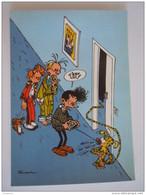 1986 Trésors Du Journal De Spirou Carte Postale 63 Illustration  Couverture Pour Le 82é Album Du Journal André Franquin - Stripverhalen
