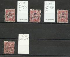 Maroc, 1914/15 Croix Rouge N° 55 */ Ob. N° 57 *, N° 60 Ob, Cote TY 46€ - Marokko (1891-1956)
