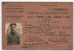 Carte Ancienne / Militaria/Carte Du COMBATTANT/EZY Sur EURE/ Frémont/Evreux/1935      AEC169 - Autres