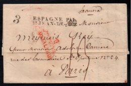 ESPAGNE PAR ST JEAN DE LUZ  / 1830 CACHET D'ENTREE SUR LAC DE MADRID POUR PARIS (ref 5976) - Marcophilie (Lettres)