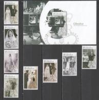 SS353 GIBRALTAR ROYALS QUEEN ELIZABETH II 70TH WEDDING ANNIVERSARY BL127 #1781-8 !!! MICHEL 25.5 EURO !!! 1SET+1BL - Royalties, Royals