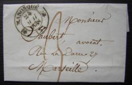 Manosque 1838 Lettre Pour Marseille - Storia Postale