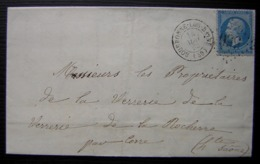 Bourbonne-les-Bains 1863 Haute-Marne Gc 556, Lettre Pour La Verrerie De La Rocherre, Par Corre (haute Saône) - Storia Postale