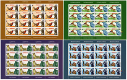Mongolia 2014 Set 4 Sheets MNH  Birds Animals MARBLED POLECAT MONGOLIAN LYNX  PHEASANT & HENDERSON'S GROUND JEY - Pájaros