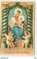 N°10237 - Carte Gaufrée - Gesegnete Weihnachten - Nativité, Angelots - Natale