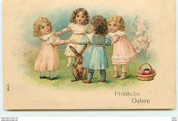 N°11243 - Carte Fantaisie Gaufrée - Fröhliche Ostern - Fillettes Faisant Une Ronde - Pâques