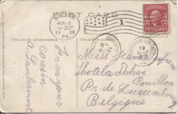 REF1/ USA PC Madison Wisconsin Butler 1908 Flag Cancellation > Belgium Arrival Cancellation Noirefontaine-Sensenruth - Covers & Documents