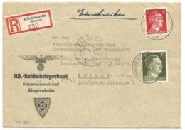 SK327 - KINGERSHEIM (KR MULHAUSEN ELS) - 1944 - Entête NS. REICHSKRIGERBUND - Recommandé Tarif 42 Pfg - - Postmark Collection (Covers)