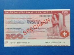 BANCONOTA SPECIMEN 200 FRANCS SWISS BANKERS TRAVELLERS CHEQUE REISECHECK - Specimen
