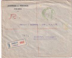 GRECE 1922 LETTRE RECOMMANDEE DU PIREE POUR NÜRNBERG - Storia Postale