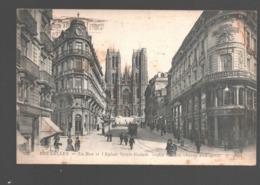 Bruxelles - La Rue Et L'Eglise Sainte-Gudule - 1919 - Avenues, Boulevards