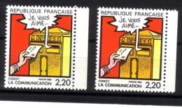 Année 1988  : Y. & T. N° 2510 ** Double Frappe Sur Timbre De Droite - Variétés Et Curiosités