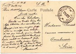 CV Expédiée Par Un Militaire Belge De L'Hôpital Militaire Belge De ROUEN Vers Courbevoie - Cachet P.M.B. 8 - WW I
