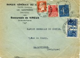 272 274 Exposition Coloniale 173 Pasteur 205 Semeuse Tarif 3.30F Vireux Molhain Ardennes Type A5 Horoplan Pour Belgique - Marcophilie (Lettres)